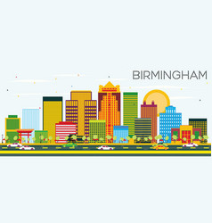 Birmingham skyline with color buildings vector