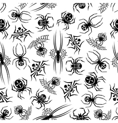 Black spiders seamless halloween background vector image