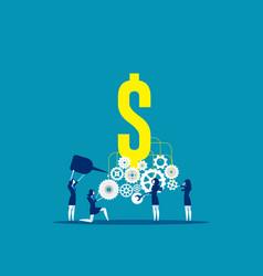 Business team building a money machine concept vector