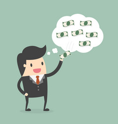 businessman picking money off his thinking bubble vector image