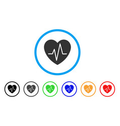 Cardiology heart pulse rounded icon vector