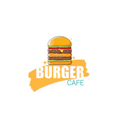 cartoon burger cafe logo design template vector image