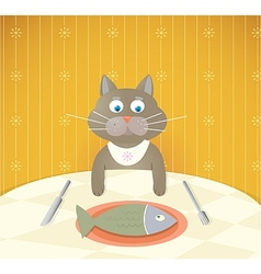 Cartoon cat at restaurant having a lunch vector