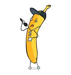 Cartoon character - banana rapper vector