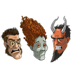 cartoon halloween angry zombie devil monsters vector image