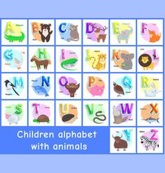 Children alphabet posters set vector