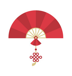 Chinese folding handheld fan with chinese knot vector