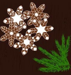 christmas cookies in the form of snowflakes on a vector image