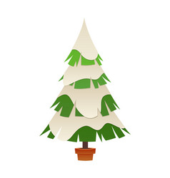 christmas tree in winter with snow cartoon vector image