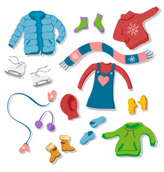 clooection of flat style winter clothing items vector image