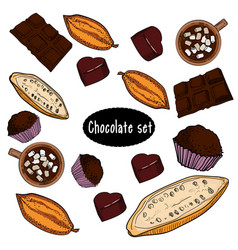 color chocolate set of hand drawing vector image