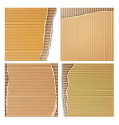 Corrugated cardboard set realistic texture vector