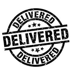 Delivered round grunge black stamp vector