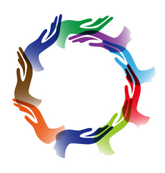 diversity hands circle background vector image