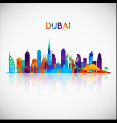 Dubai skyline silhouette in colorful geometric vector