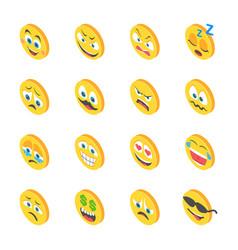 Emoji isometric icons vector