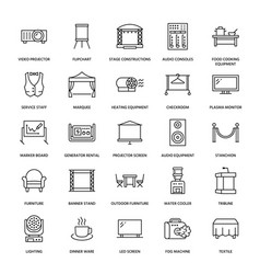 Event supplies flat line icons party equipment vector