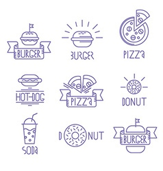 fast food design elements Linear style Outline vector image