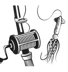 Fishing rod and bait for tuna vector