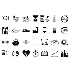 Fitness sport and health silhouette icons set vector image