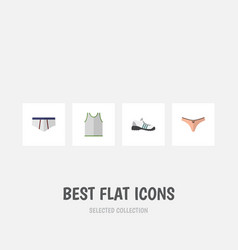 flat icon dress set of sneakers lingerie vector image