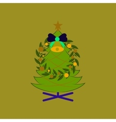 Flat on background of Christmas fir vector