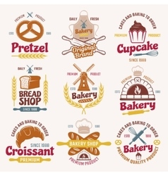 Flour Products Retro Style Emblems vector