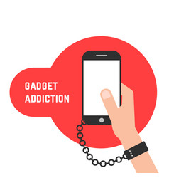 Gadget addiction with phone and chain vector