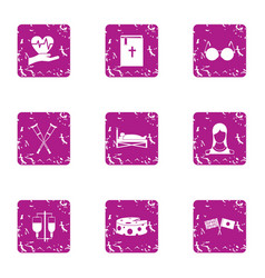 General medical icons set grunge style vector