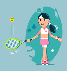 girl hits the ball with a racket vector image