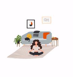 Girl sitting cross-legged in her room vector