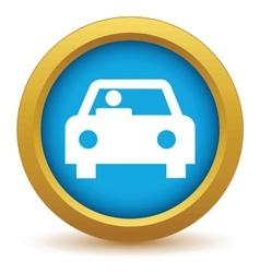 Gold car icon vector