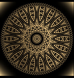 Gold ethnic mandala pattern round floral ornament vector
