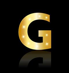 golden letter g shiny symbol vector image