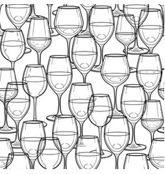 Graphic seamless pattern of wine glasses vector