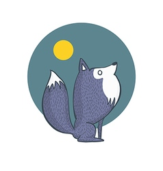 Gray Wolf and Full Moon Cartoon Character vector image