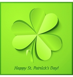 Green paper clover Patricks Day greeting card vector image