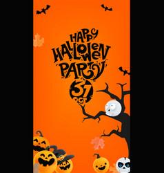 Halloween mobile stories template with pumpkins vector