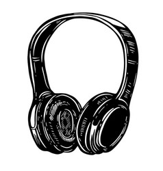 hand drawn headphones on white background vector image