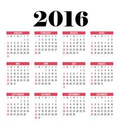 happy new year calendar 2016 vector image