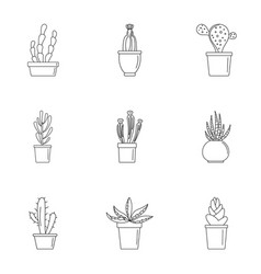 Home cactus plant icon set outline style vector
