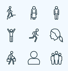 human outline icons set collection of team head vector image