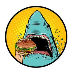 Hungry shark eat burger vector