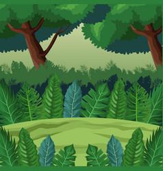 jungle landscape cartoon vector image