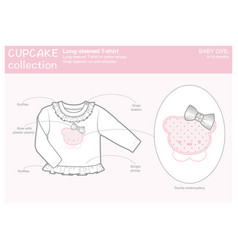 Long-sleeved t-shirt for a baby girl vector