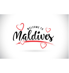 Maldives welcome to word text with handwritten vector