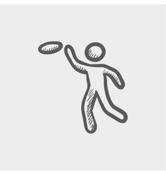 Man catching a flying disc sketch icon vector
