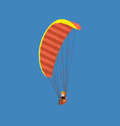 Man paragliding on a parachute descending vector