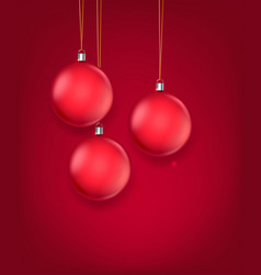 matte red glass christmas baubles template vector image