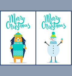 merry christmas snowman on vector image